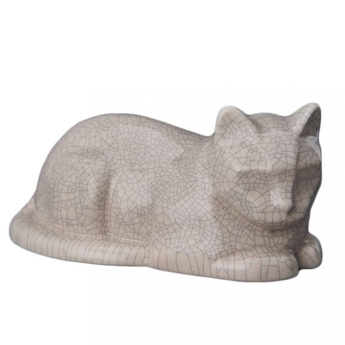Always and Forever Memorial Products: Ceramic Cat Urn Craquelure