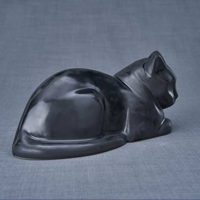 Always and Forever Memorial Products: Ceramic Cat Urn Matte Black